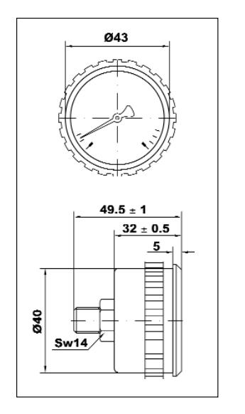 Manometro a molla Bourdon 0-16 Bar per depuratori osmosi inversa