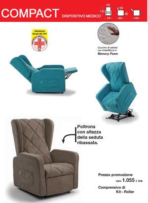 Poltrona Relax Compact con Seduta Ribassata completa di Alzapersona Kit Roller 2 Motori PRONTA CONSEGNA PREZZO IVA AGEVOLATA 4% Prodotto Italiano