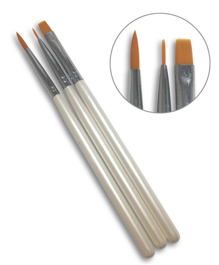 Set 3 pennelli per stesura gel e nail art