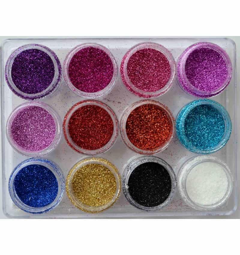 Glitter powder 12 barattoli MOD.7- Nail Art