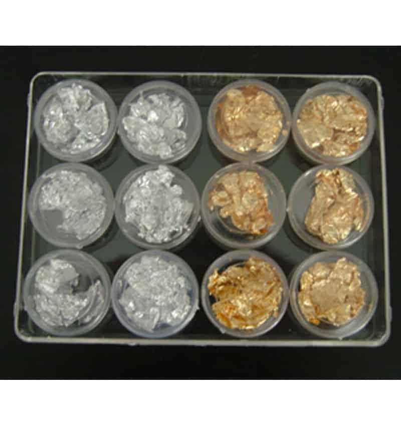 Foglia oro + argento 12 barattoli - Nail Art