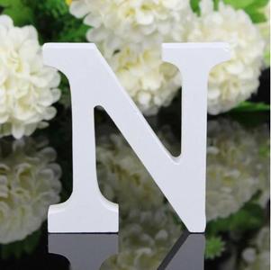 """LETTERA """"N"""" IN LEGNO BIANCO 12CM ALFABETO MATRIMONI COMPLEANNI DECORAZIONI FESTA"""