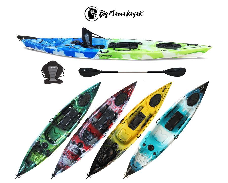 Prestige 4.0 Fishing Big Mama Kayak V.2020 Canoa 400 Cm Con 2 Portacanne+ 3 Gavoni + Timone+ Pagaia + Seggiolino