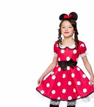 Costume di Carnevale Mouse Girl Vestito Pois TOPINA Colore Rosso Bambina TAGLIA S 5-6 Anni