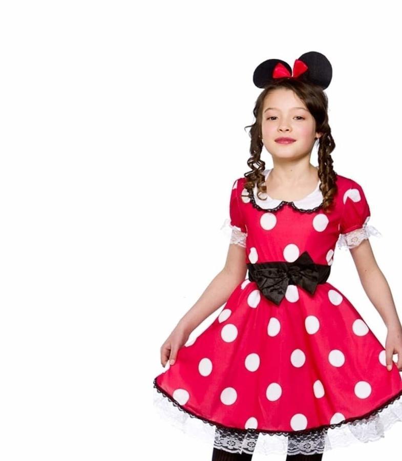Costume di Carnevale Mouse Girl Vestito Pois TOPINA Colore Rosso Bambina TAGLIA M 7-8 Anni