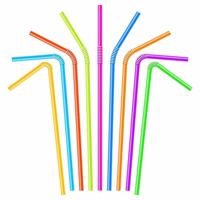 Cannucce di Plastica Colorata Cannucce Bere Monouso Flessibile per Feste Bar Negozi Casa 100 PCS