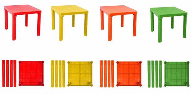 Tavolo per Bambini in plastica Colorata Rigida smontabile tavolino da Gioco per casa Giardino o cameretta