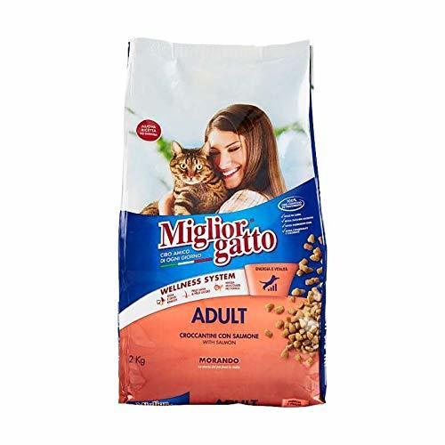 3X MANGIME per Gatti MIGLIORGATTO CROCCANTINI Adult Salmone Sacco da 2KG Cibo Secco