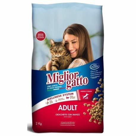 2X MANGIME per Gatti MIGLIORGATTO CROCCANTINI Adult Manzo Sacco da 2KG Cibo Secco