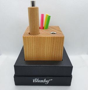 Set matitona + cubo portarefill con temperino incorporato legno naturale