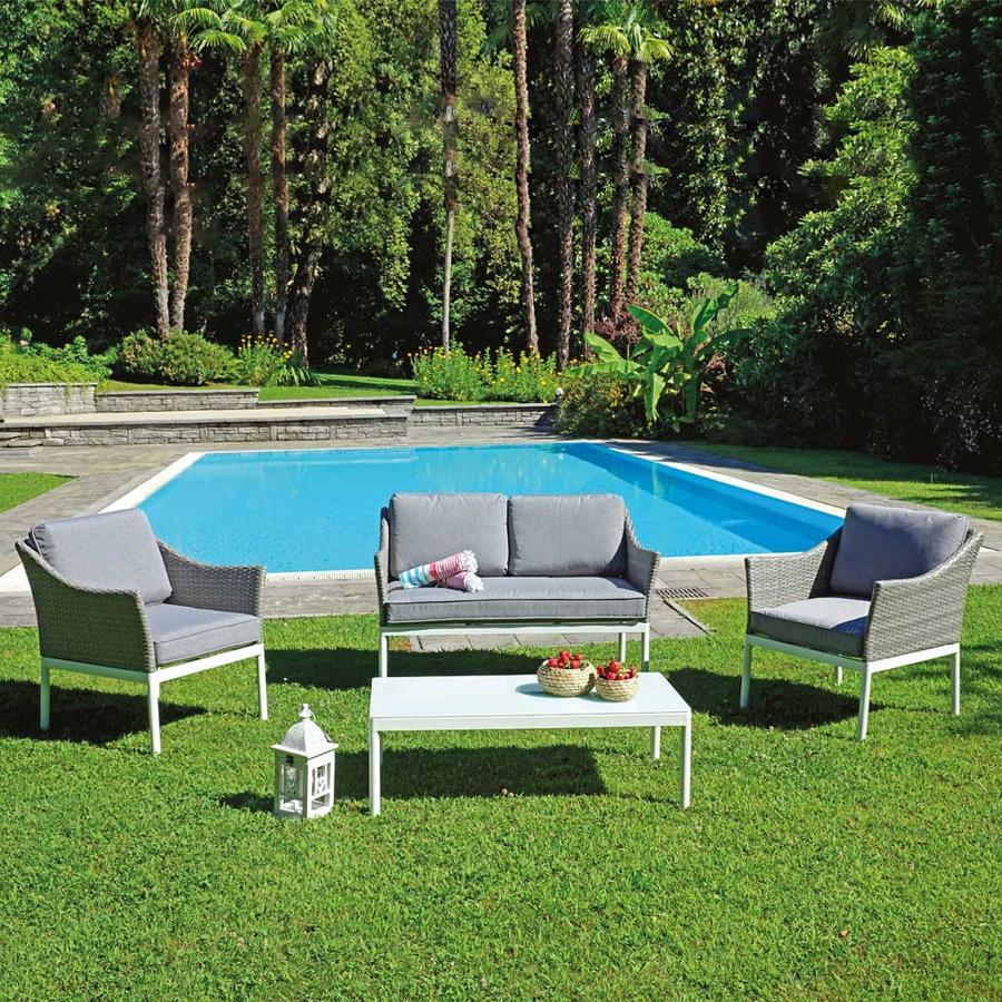 Salottino da giardino in wicker melange chiaro SET SONDRIO alluminio bianco SET 118
