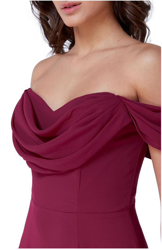 0584 FLARED CHIFFON DRESS AT THE BOTTOM WITH SHOULDER STRAP