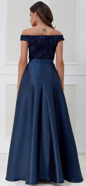 0585 ELEGANT LONG DRESS IN BLUE SATIN WITH MACRAME 'NECKLINE AND SEQUINS