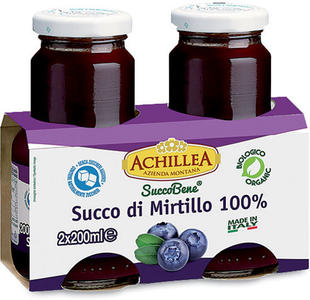 Succo puro mirtillo, Achillea, 2x200 ml