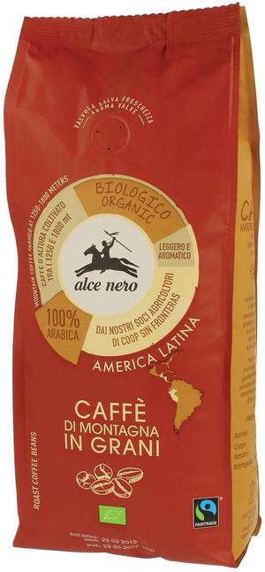 Caffè 100% arabica in grani, Alce nero fairtrade, 500 gr