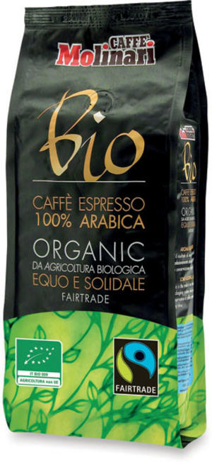 Caffè in grani 100% arabica bio fair trade, Caffè molinari, 500 gr