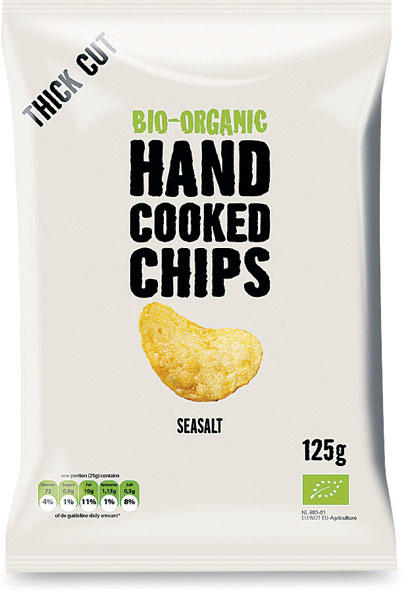 Hand cooked chips - classiche con sale, Hand cooked chips, 125 gr