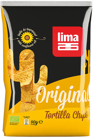 Tortilla chips natural - snack mais, Lima, 90 gr