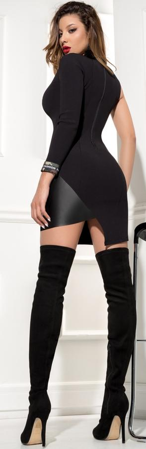 0587 LYCRA PIPE WITH A SLEEVE AND ASYMMETRIC FINISH IN FAUX LEATHER