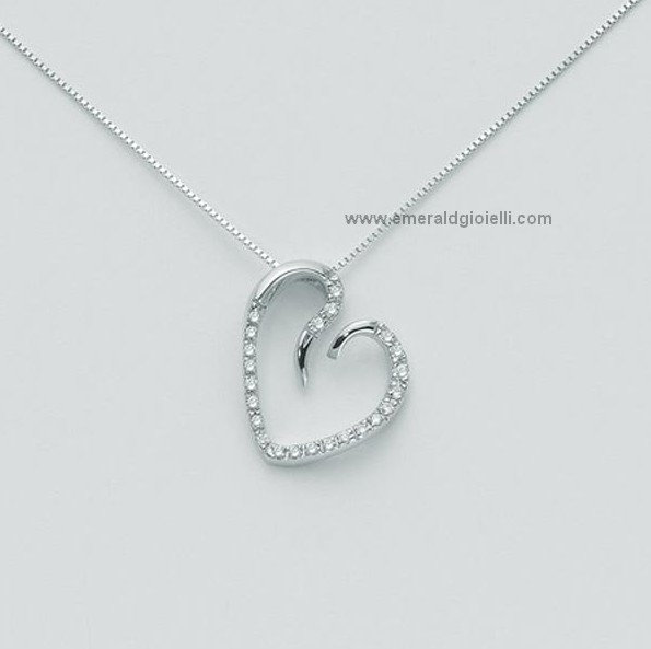 check-out 64747 c1515 CLD2673 Collana con Cuore e Diamanti Miluna -