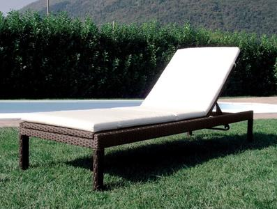 Lettino da giardino in wicker marrone LESSINO cm 206 x 72 x 34 h