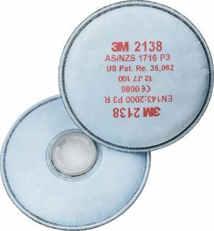 SINGOLO Filtro antiparticolato P3 R Filtri 3M 2138 per polveri vapori organici e gas acidi in concentrazioni TLV Classe P3