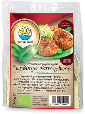 Veg burger - preparato per burger farro e avena, Natural food, 200 gr