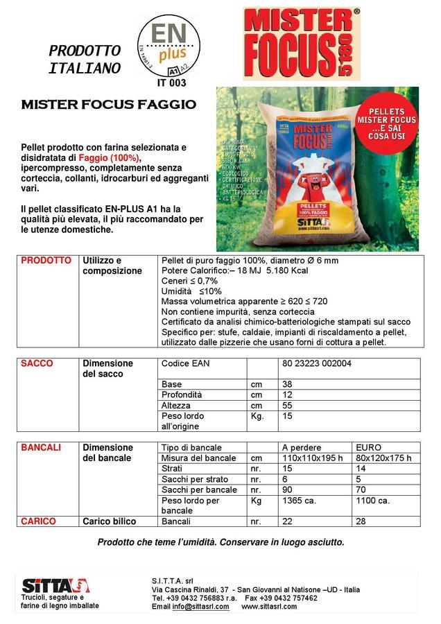 Pellet Mister Focus 15 Kg/Bancale