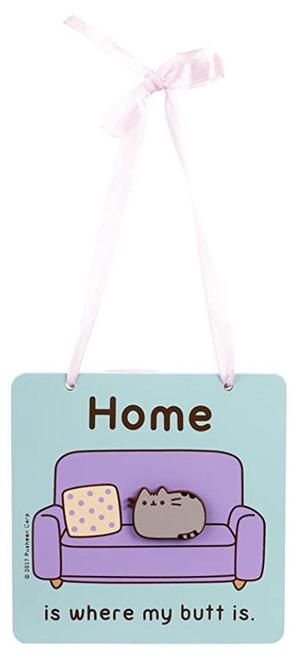 "Pusheen - Wall plaque ""Home is where my butt is"""