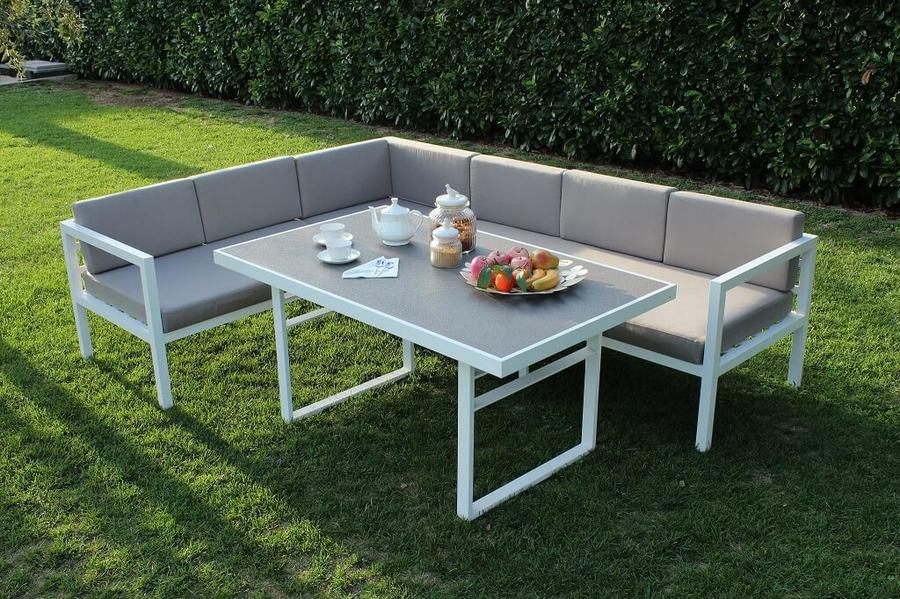 Salotto angolare CUBANELLO in alluminio e tavolo pranzo BIANCO