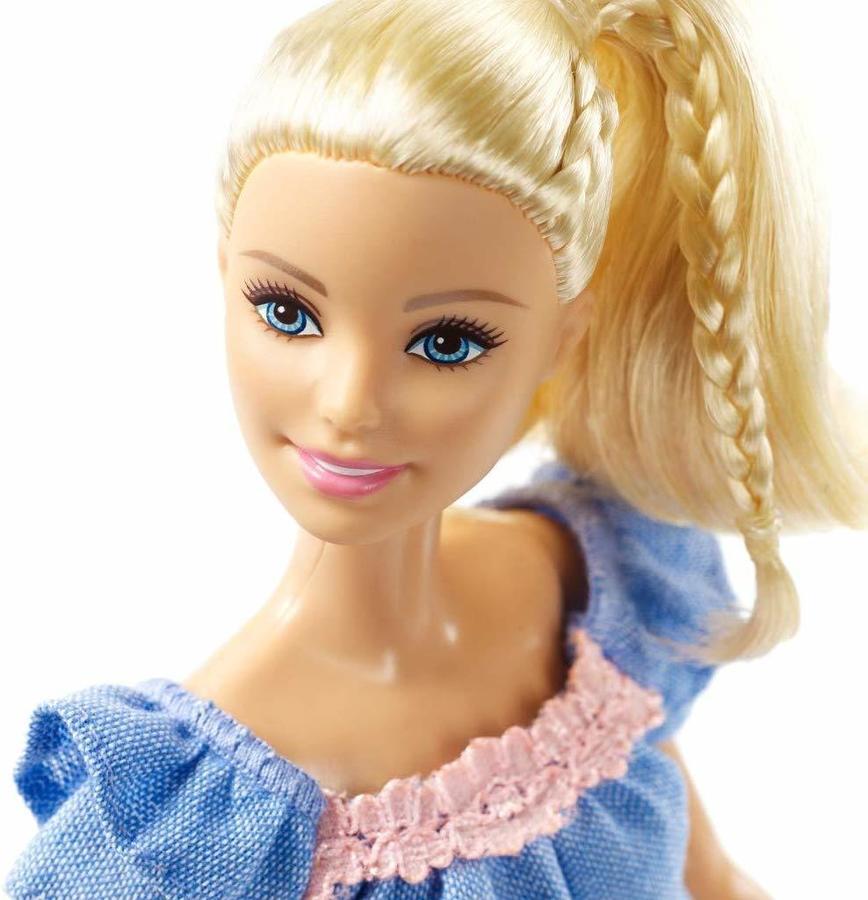 Barbie Fashionistas Abito blu con pizzo rosa - Mattel FRY79 - 3+ anni
