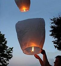 Lanterna cinese volante 5 pz mini mongolfiera sky lantern bianca