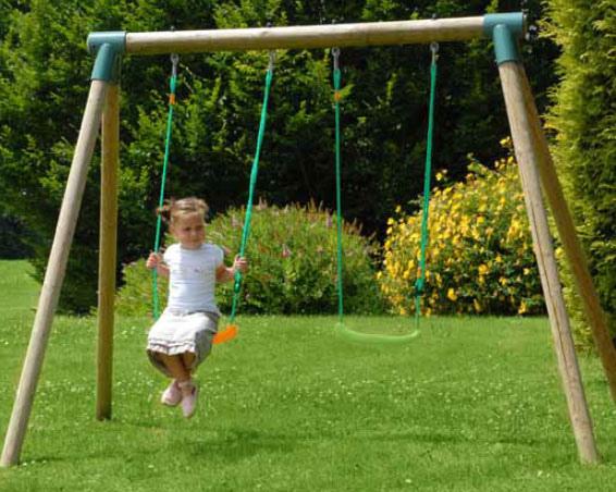Altalena da giardino per bambini doppia in legno 2 posti iris l 2 70 x p 1 90 x h 1 90 m - Altalena da giardino in legno ...