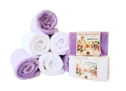 Asciugamano Neonato Cotone Set con 2 Saponi Vegetali