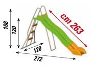 Scivolo per bambini in plastica metallo con onda centrale  MANGO altezza 168 cm - lunghezza 263 cm cod.sc1334