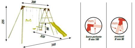 Set giochi giardino altalena in legno + cavalluccio + scivolo + anelli a trapezio Giglio ALS1357