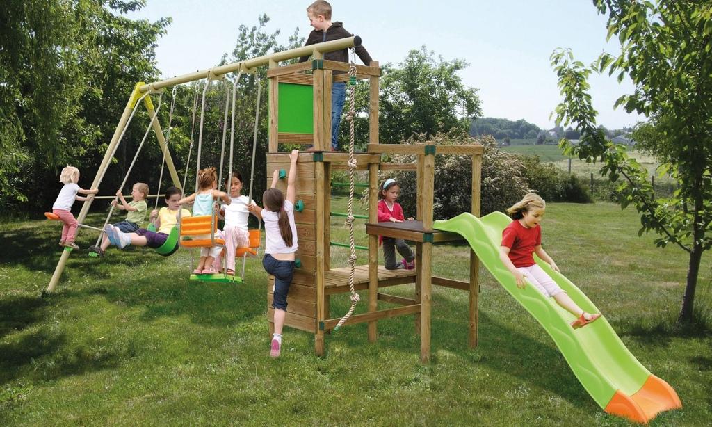 Area giochi giardino CHEYENNE in legno altalena + dondolo + cavalluccio + fune h cm 250 + terrazzino con ringhiera + scala pioli + scivolo + parete di arrampicata COD. AGL1373
