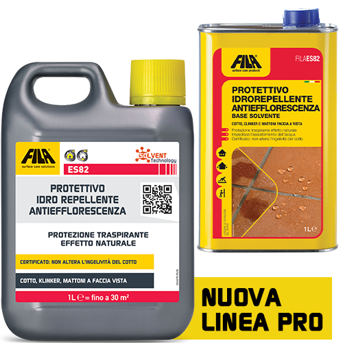 Protettivo idrorepellente FILA ES82 impermeabilizzante Antiefflorescenza per cotto clinker e mattoni 5 LT
