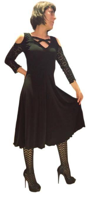 BLACK DANCE DRESS WITH LACE SLEEVES AND BACK 4-0032