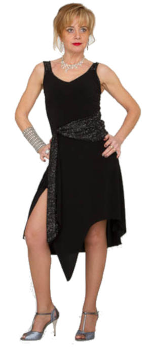 DANCE DRESS AND ARGENTINE TANGO IN BLACK SWEATER WITH SLIT AND SLEEVE 4-0126
