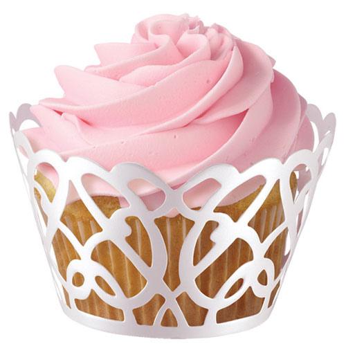 Set 18 wraps per cupcakes wilton traforati perlati