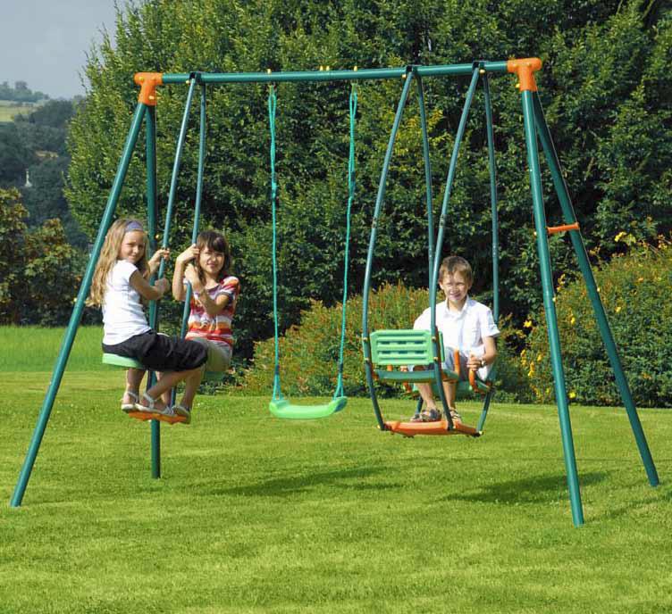 Altalena per bambini da giardino in metallo FENICE con dondolo e cavalluccio