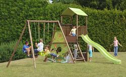 Area giochi giardino NAVAJO altalena + altalena baby + cavalluccio + rete di arrampicata + torretta con ringhiera + scivolo  cod.AGL1369