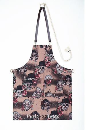 BROWNSKULLS Grembiule in tela gabardine stampata con teschi su sfondo Beige
