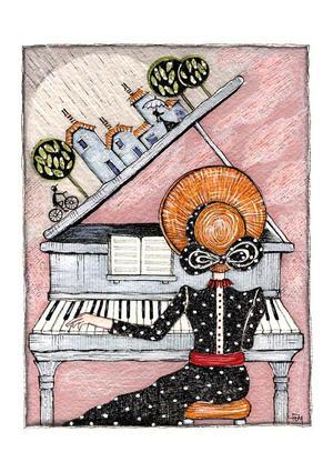 FEDERICA DE MARCO, STAMPA formato A4 firmata e numerata a 500 copie: LA PIANISTA.