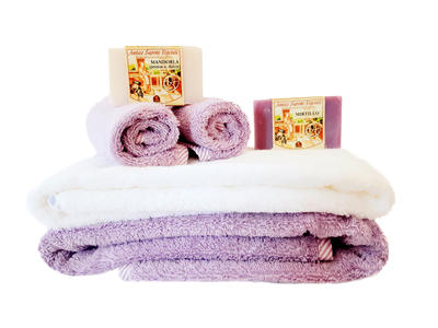Asciugamano Neonato Cotone Set con Saponi e Lavette