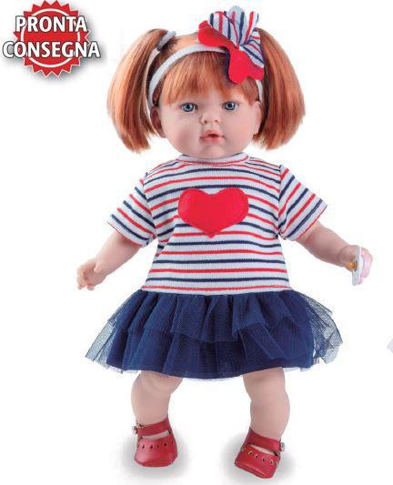 Bambola Profumata in Vinile 'Tita' con Cuore e gonna azzurra Capelli Rossi di Nines d'Onil Completa di Scatola