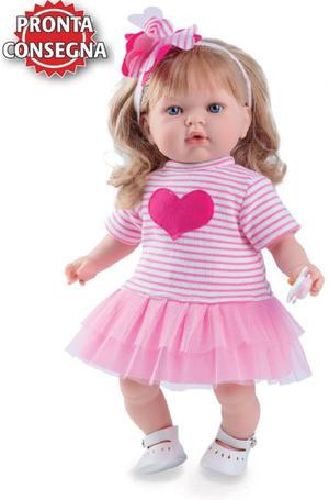 Bambola Profumata in Vinile 'Tita' con Cuore e gonna rosa di Nines d'Onil Completa di Scatola