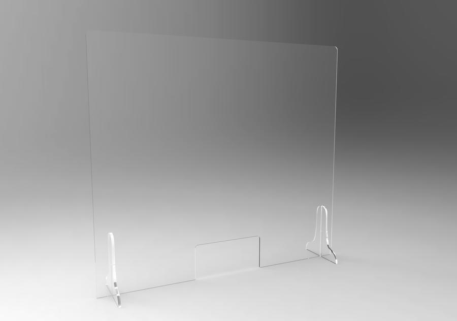 Parafiato pannello protezione 4MM con sostegni laterali, + feritoia, VARIE MISURE in plexiglass Trasparente