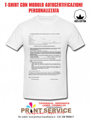 Maglietta Covid T-Shirt Corona V Modulo Autocertificazione Personalizzata